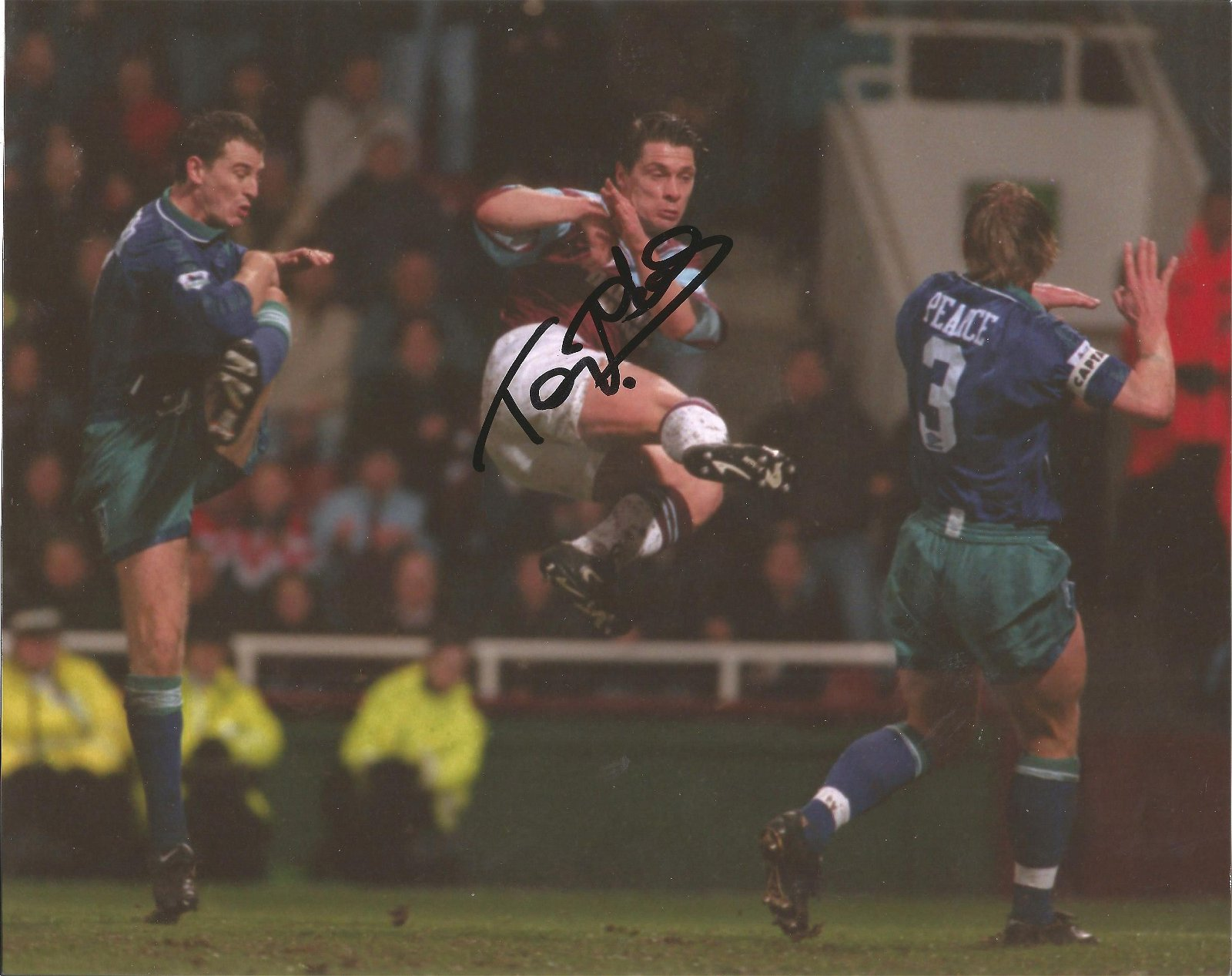 Tony Cottee signed 10x8 colour photo pictured in action