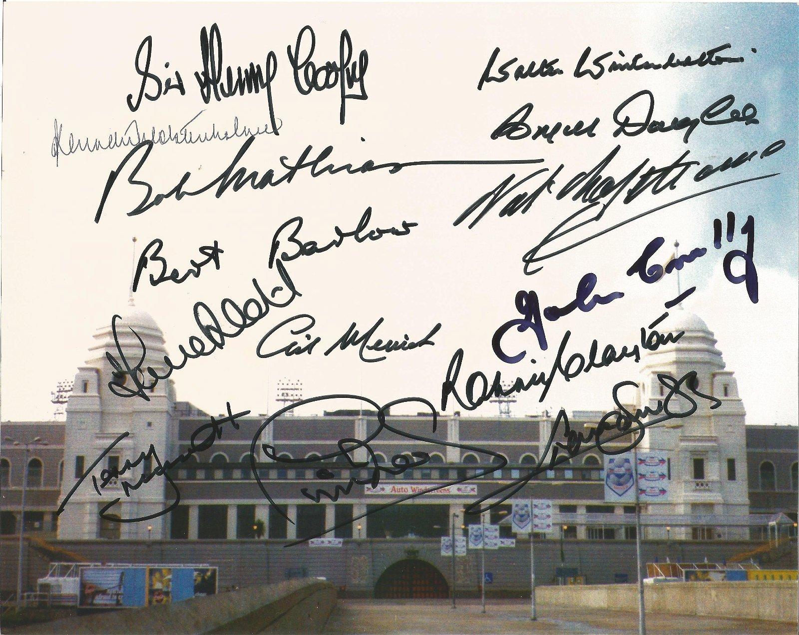 Wembley legends 10x8 signed colour photo 14 signatures