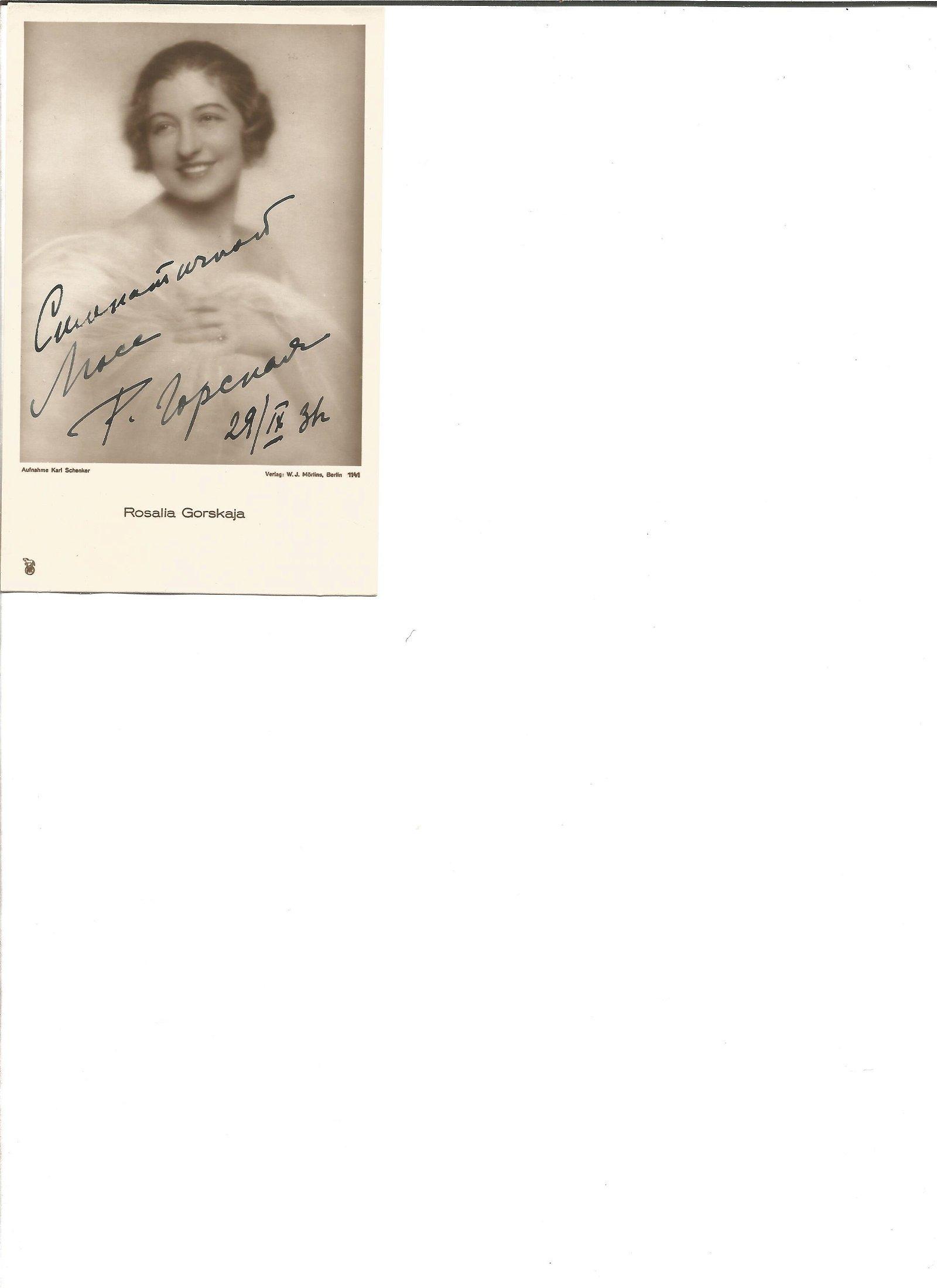 Rosalia Gorskaya signed 6x4 vintage photo. Opera