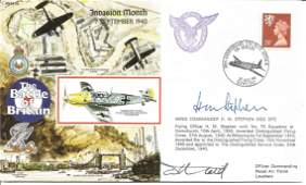 Wg Cdr Huw Stephen DSO DFC WW2 BOB pilot signed 1990