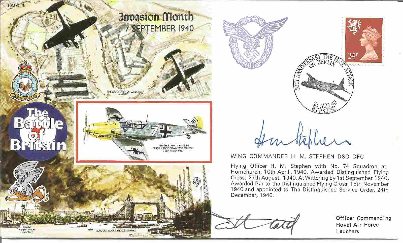 Wg Cdr Huw Stephen DSO DFC WW2 BOB pilot signed 1990,