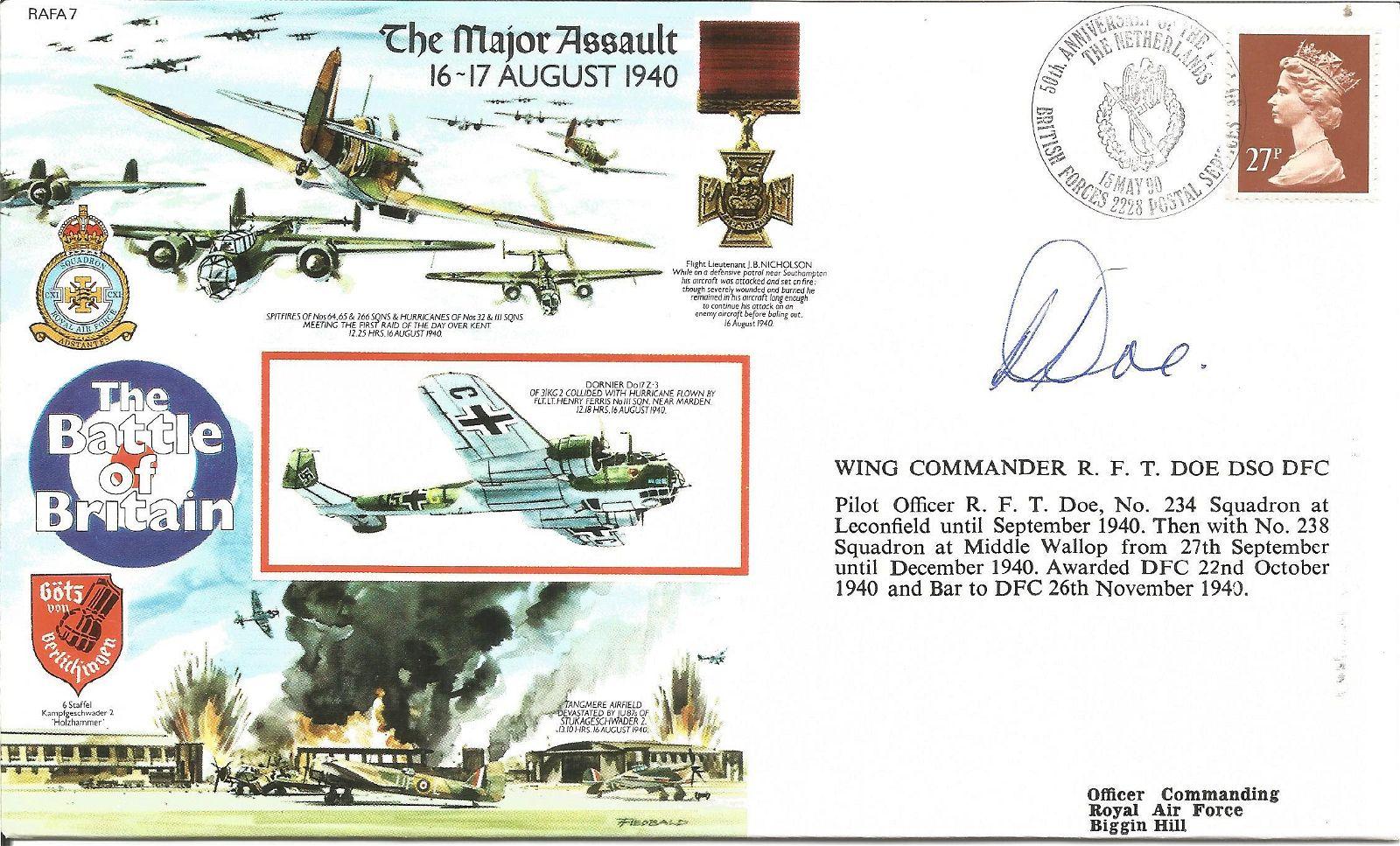 Wg Cdr Bob Doe DSO DFC WW2 BOB pilot signed 1990, 50th