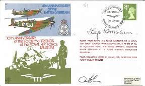 Luftwaffe WW2 ace Hajo Herrmann KC and pilot signed