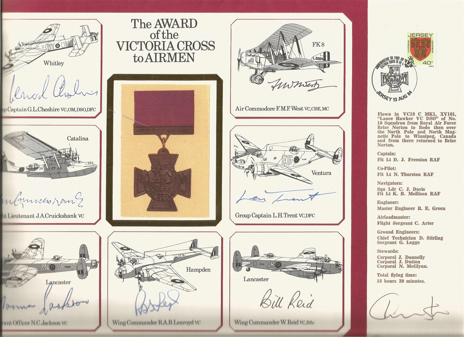 Seven Victoria Cross winners signed A4 Victoria Cross