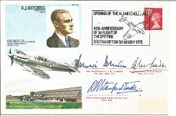 WW2 aces multiple signed RJ Mitchell Spitfire cover.