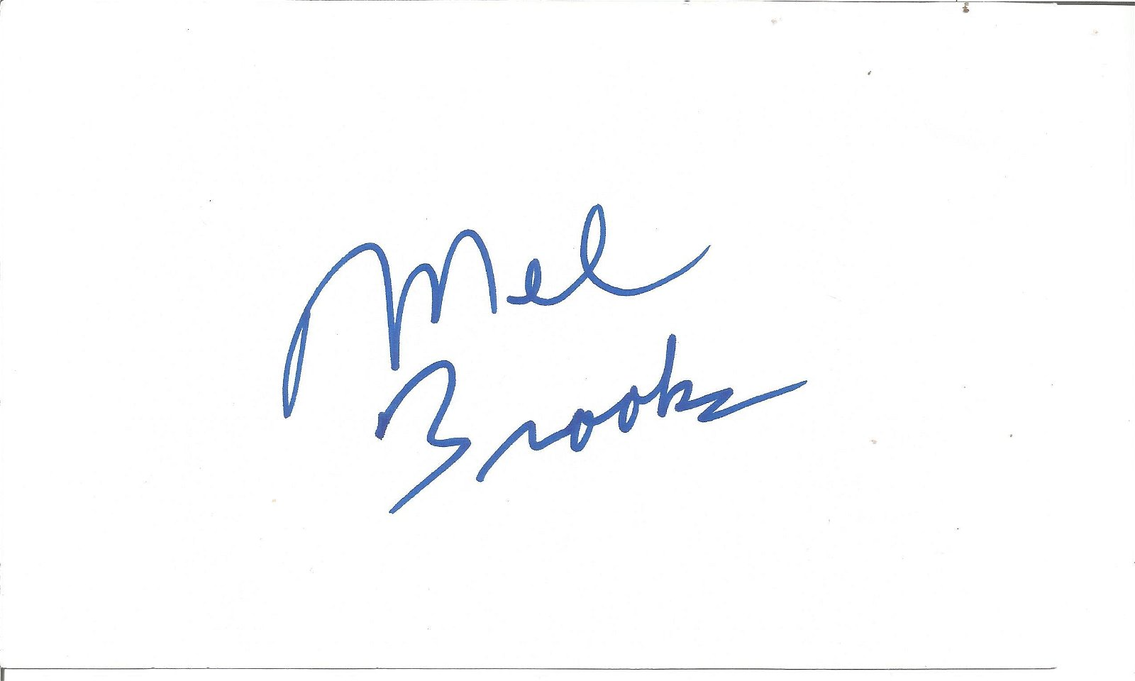 Mel Brooks signed white card. Good Condition. All