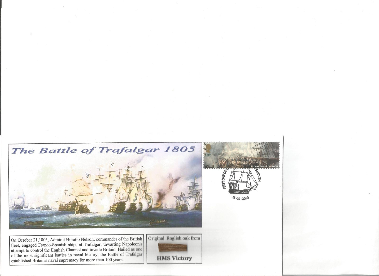 Battle of Trafalgar FDC collection. 3 in total all with