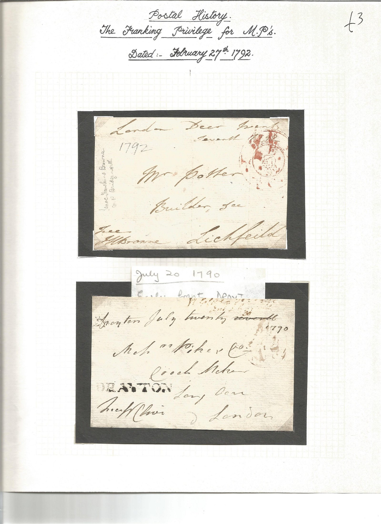 Postal History. Franking privilege for MP's dated