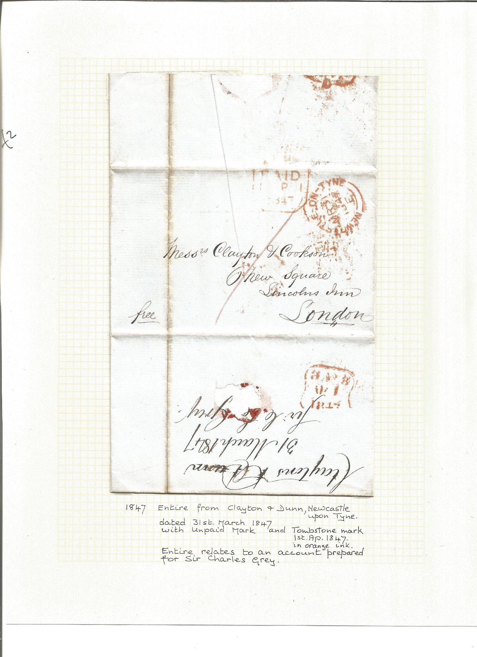 Postal History. 1847 entire from Clayton and Dunn,