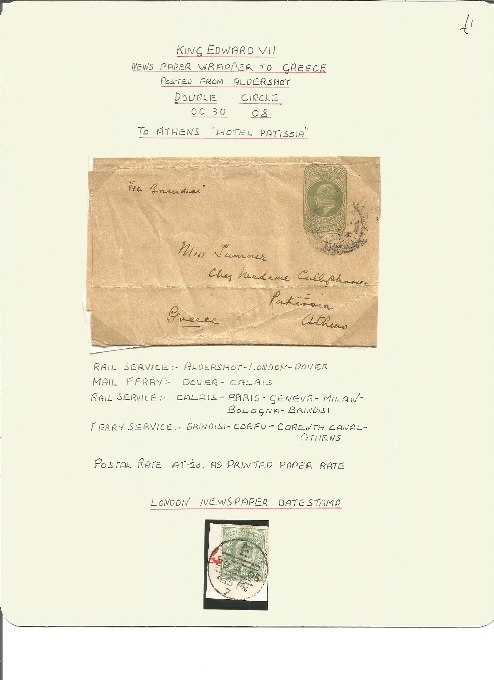 Postal History. King Edward VII newspaper wrapper to