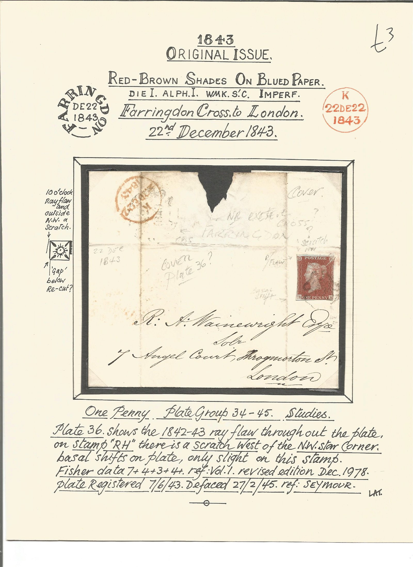 Postal History. 1843 original issue. Red brown shades