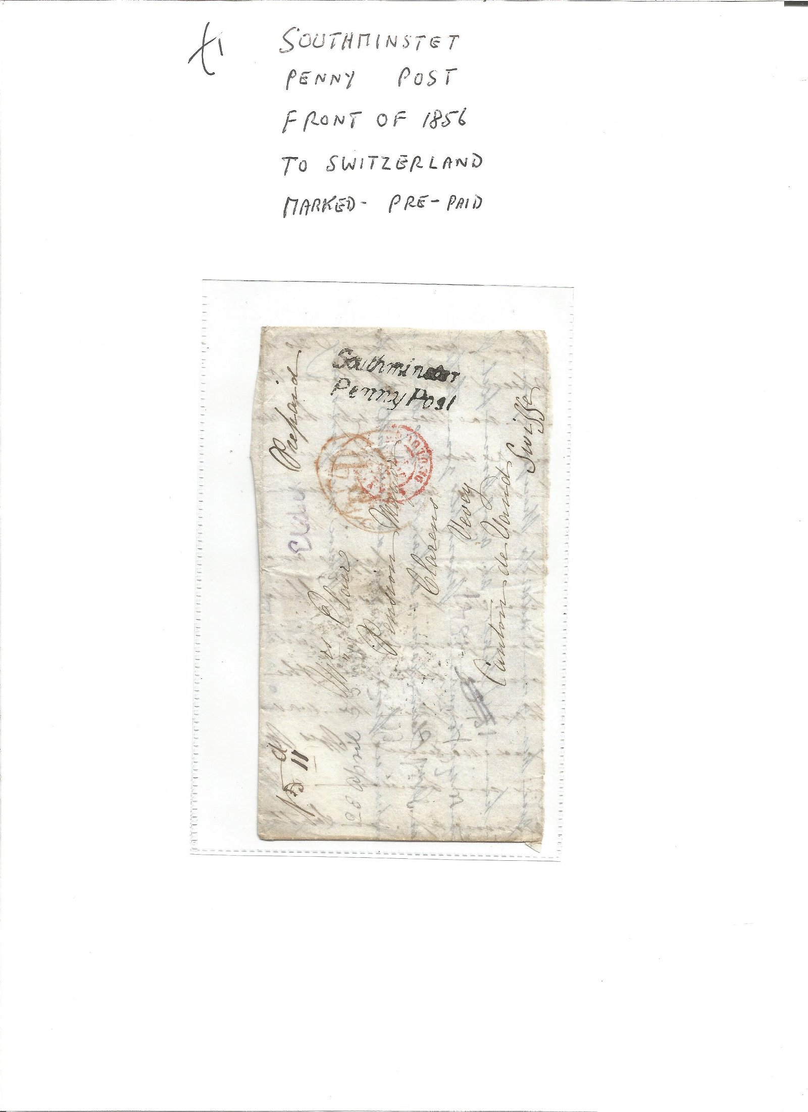 Postal History. Southminster penny post. Front of 1856