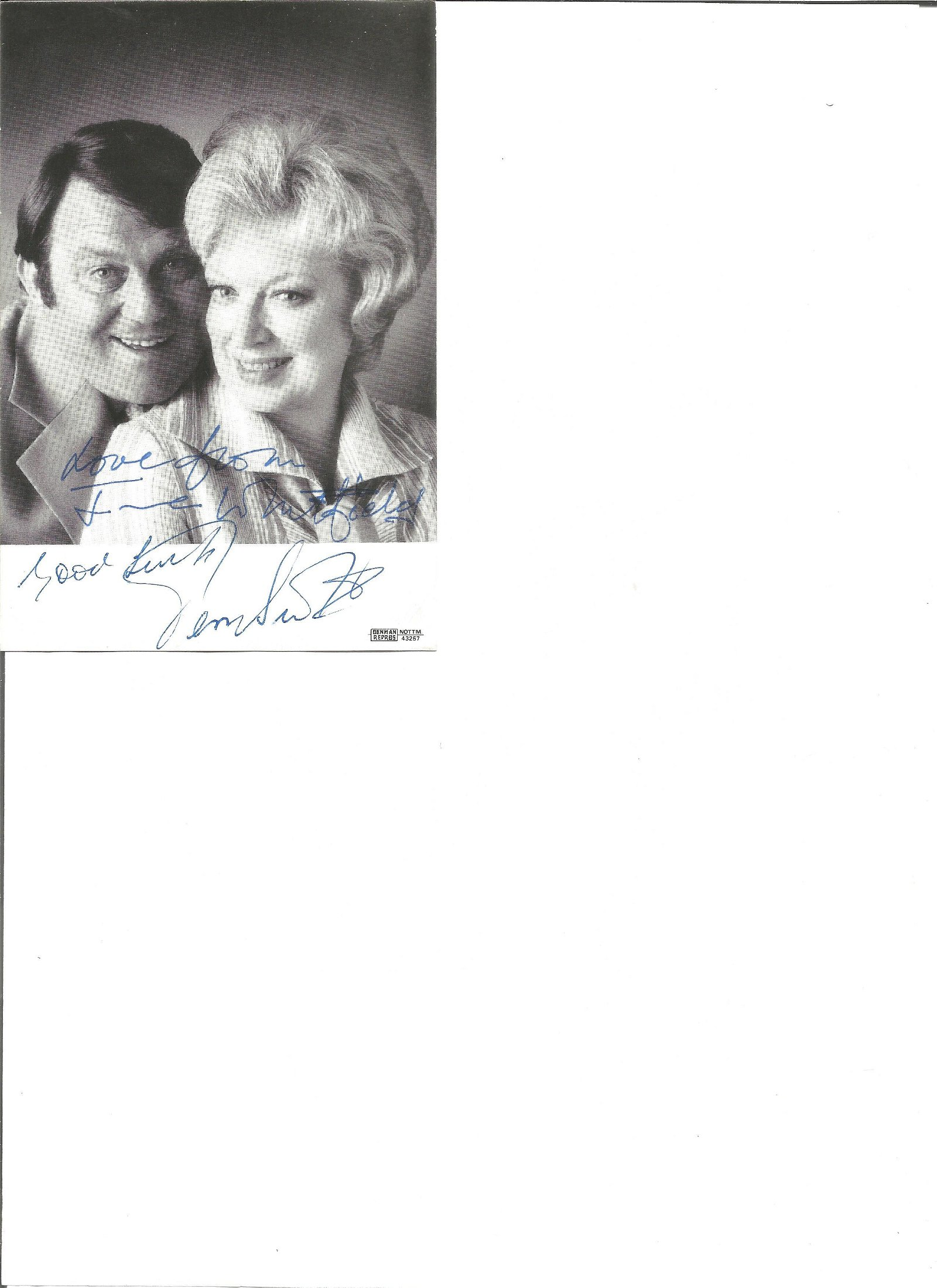 June Whitfield and Terry Scott signed 6x4 black and