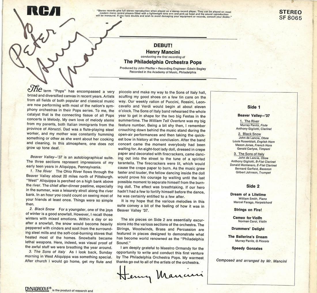 Henry Mancini signed The Philadelphia orchestra pops