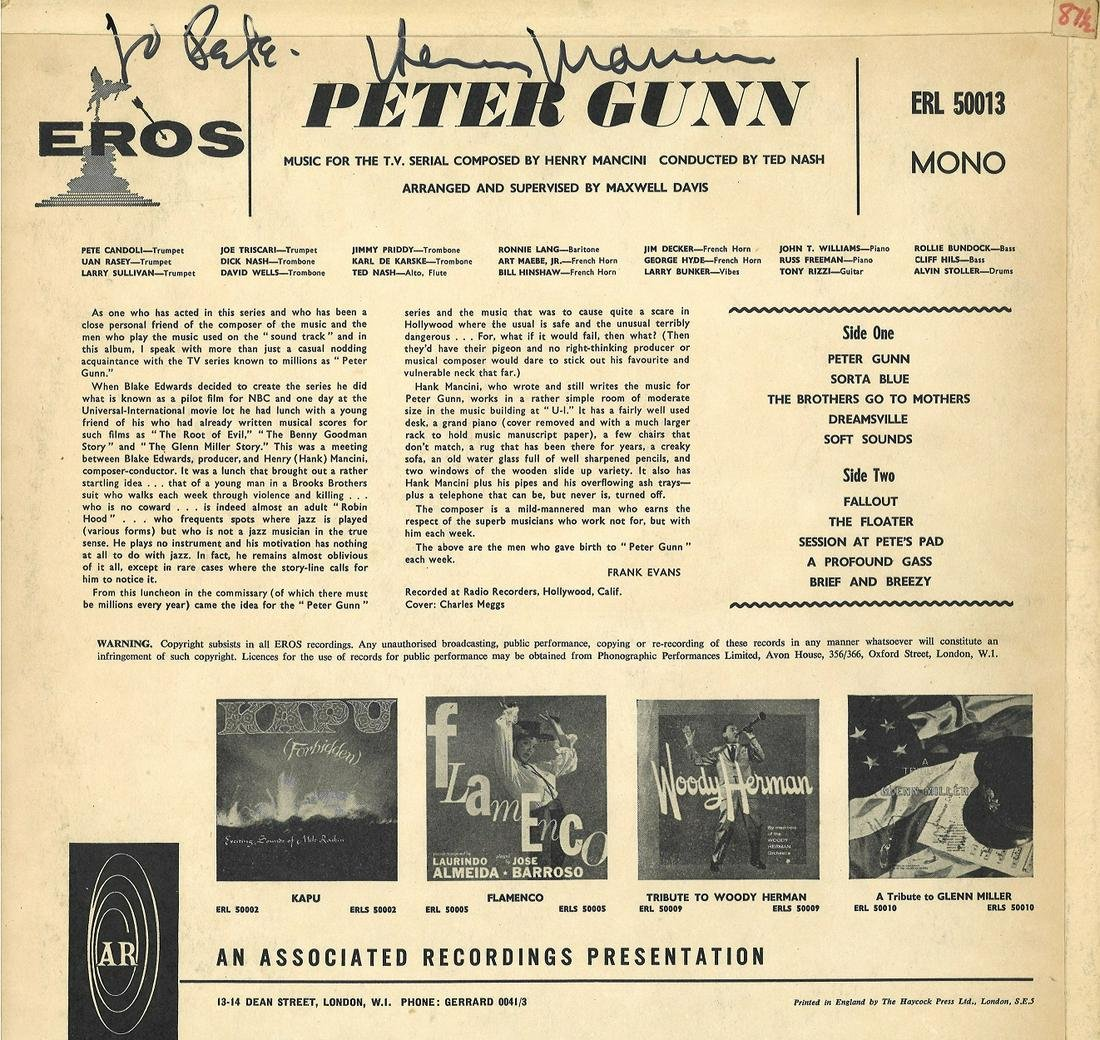 Henry Mancini signed Peter Gunn 33rpm record sleeve.