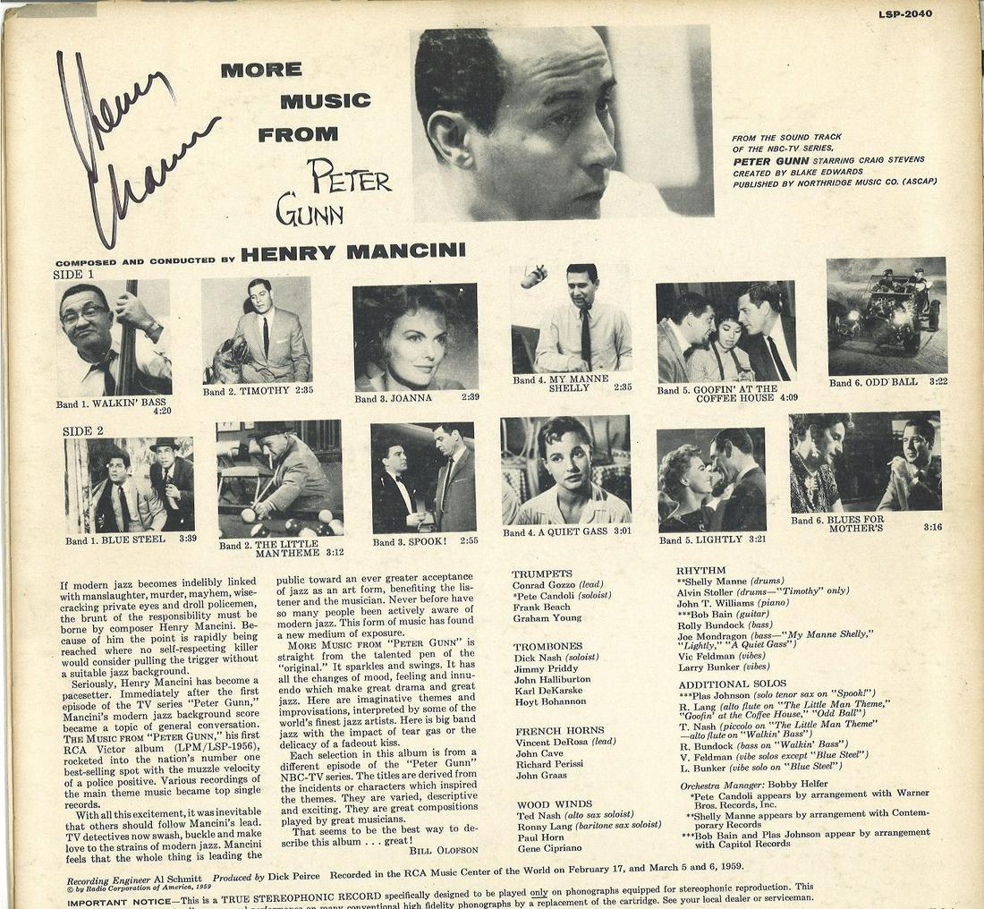 Henry Mancini signed More music from Peter Gunn 33rpm