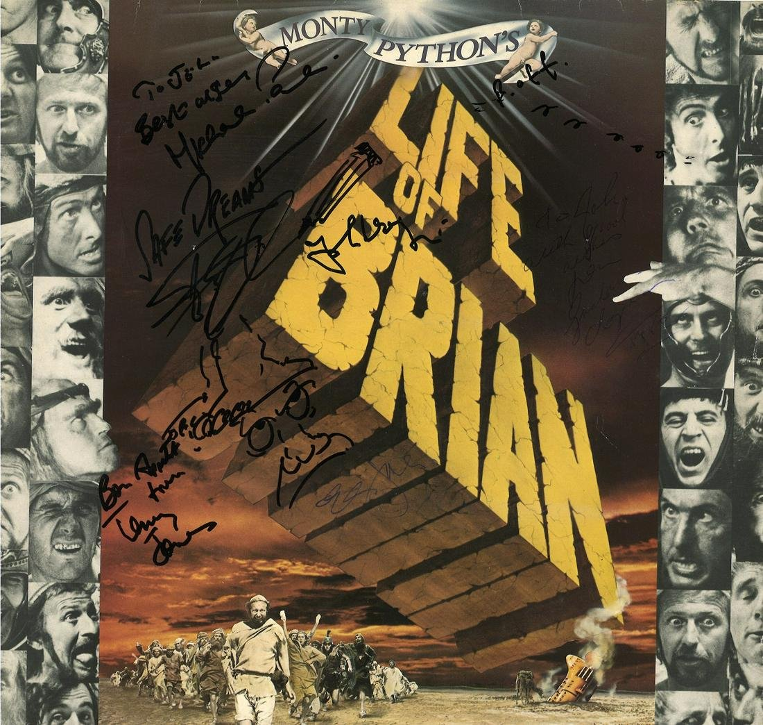 Cast of Monty Python signed Life of Brian 33rpm record