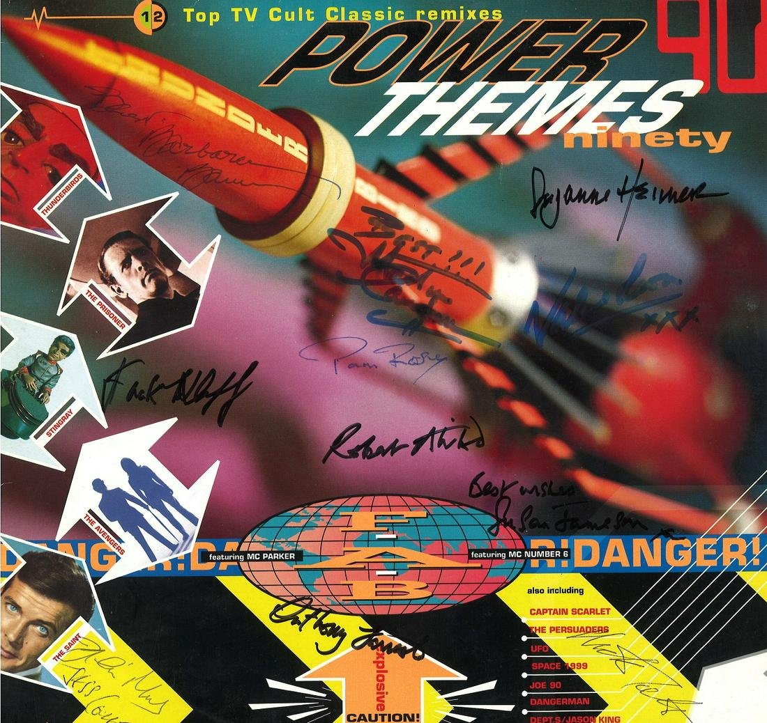 Multi signed Power Themes Ninety 33rpm record sleeve,