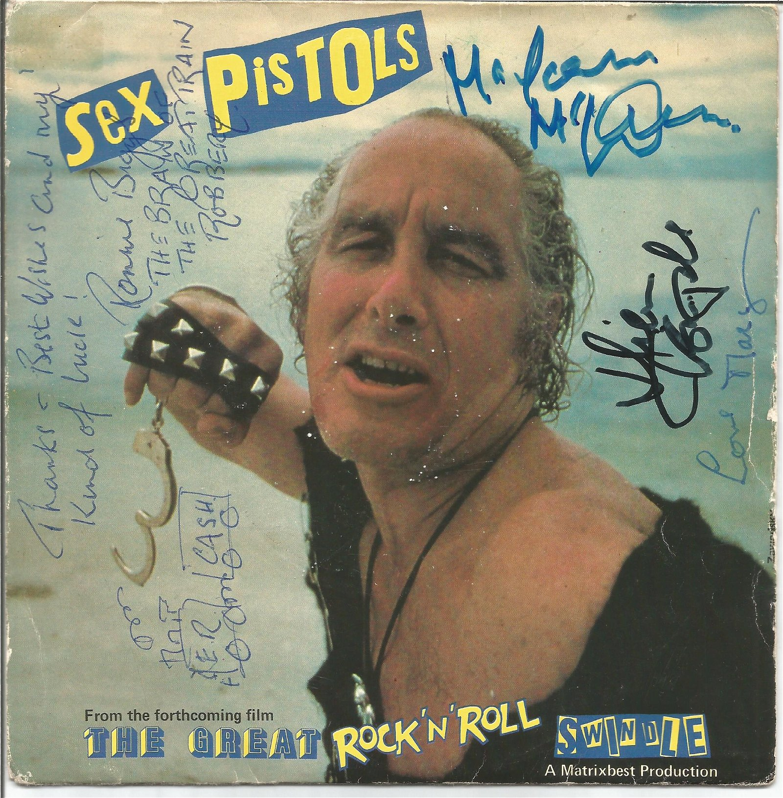 Ronnie Biggs and 3 others signed 45rpm record sleeve