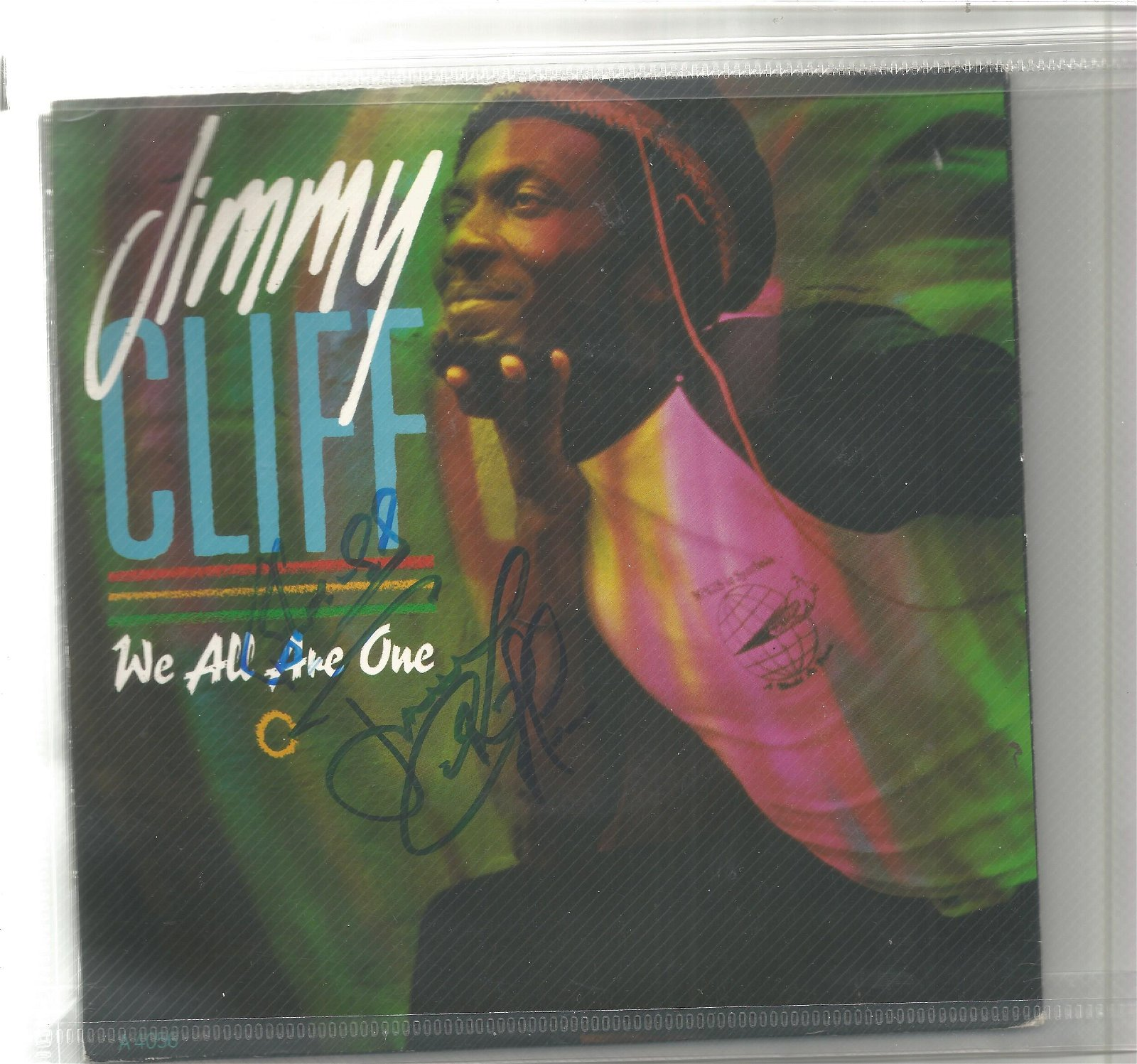 Jimmy Cliff signed We all are one 45rpm record sleeve,