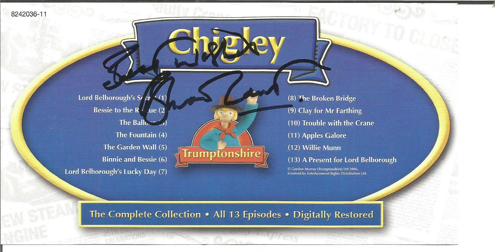 Brian Cant signed insert in Chigley DVD, Included .