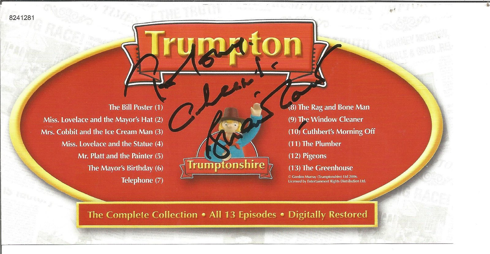 Brian Cant signed insert in Trumpton DVD, Included .