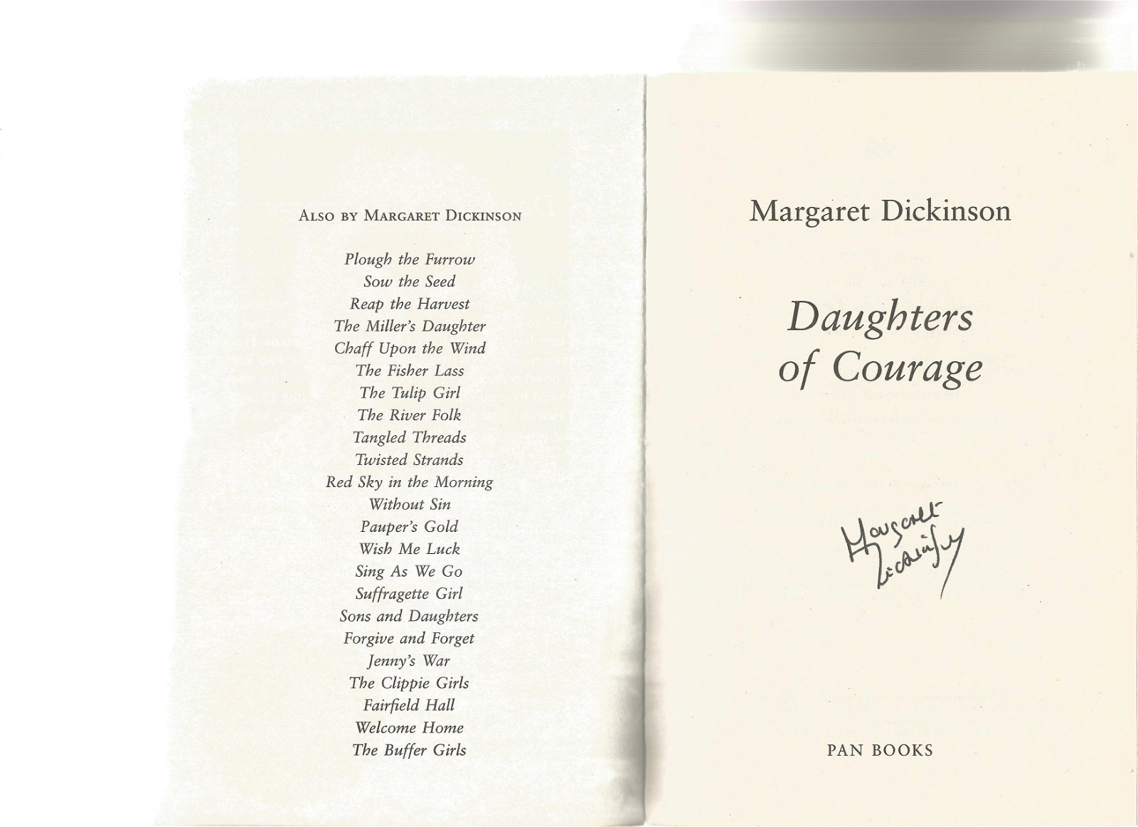 Margaret Dickinson signed Daughters of Courage