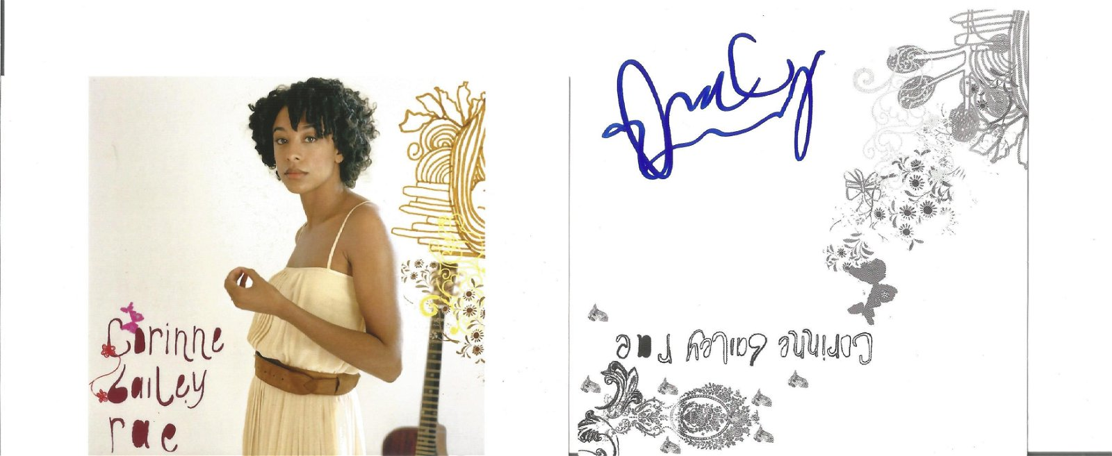 Corinne Bailey Rae Singer Signed Card Plus Photo . Good