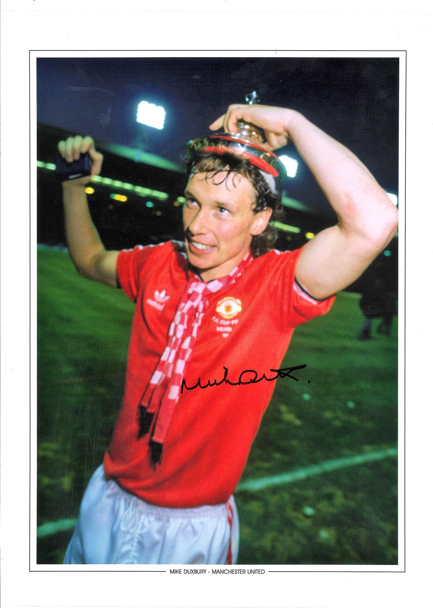 Mike Duxbury Signed Manchester United Fa Cup 12x16