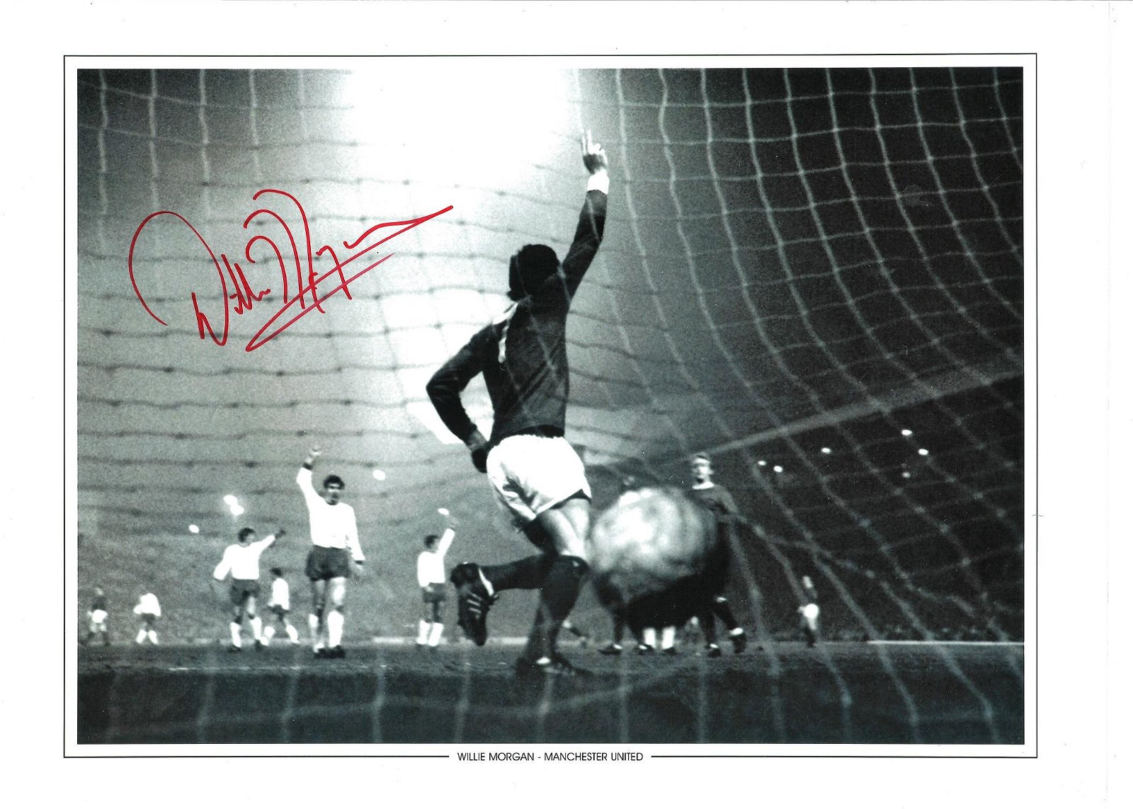 Willie Morgan Signed Manchester United 12x16 Photo .