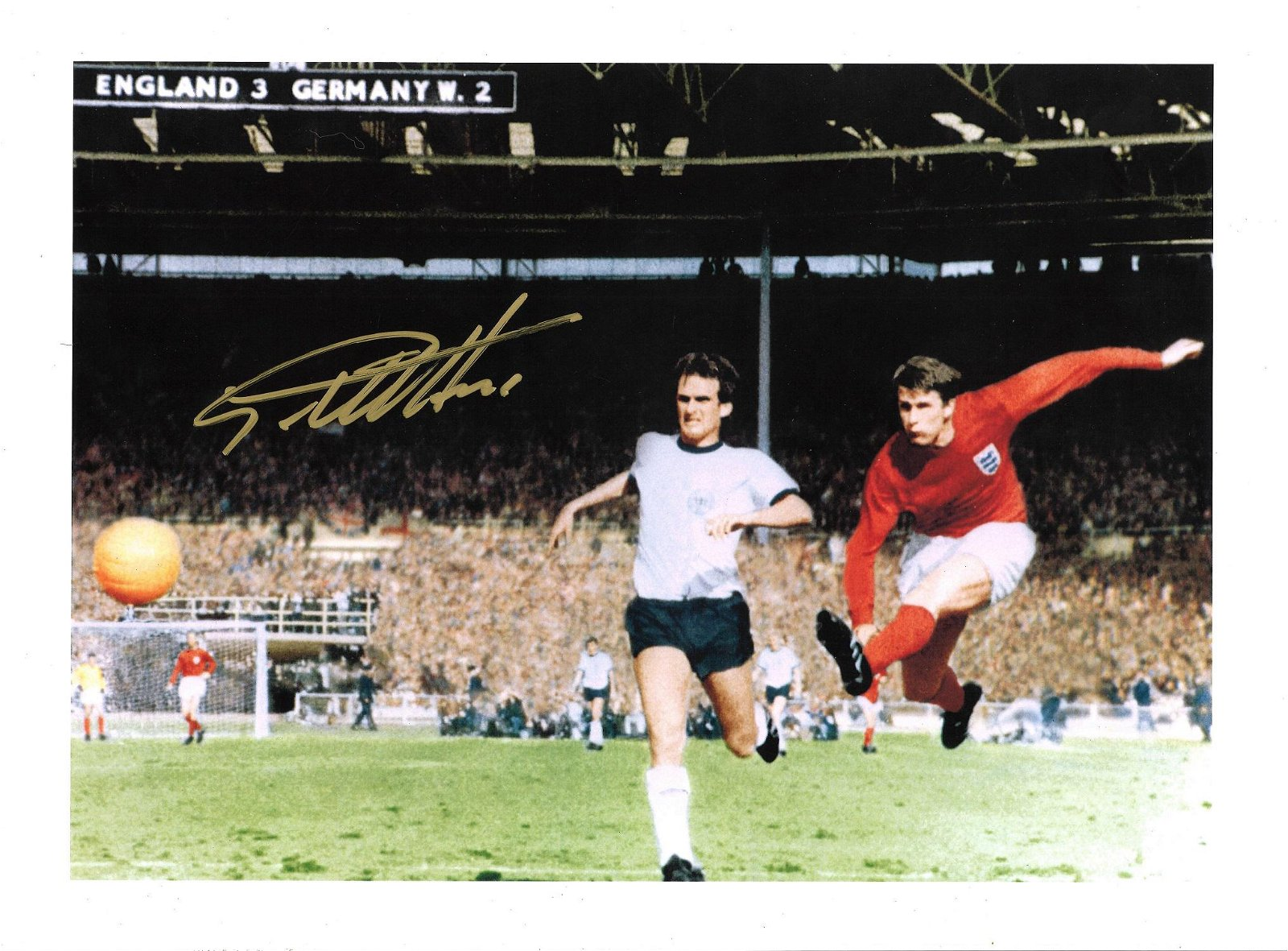 Geoff Hurst Signed England 1966 World Cup 12x16 Art