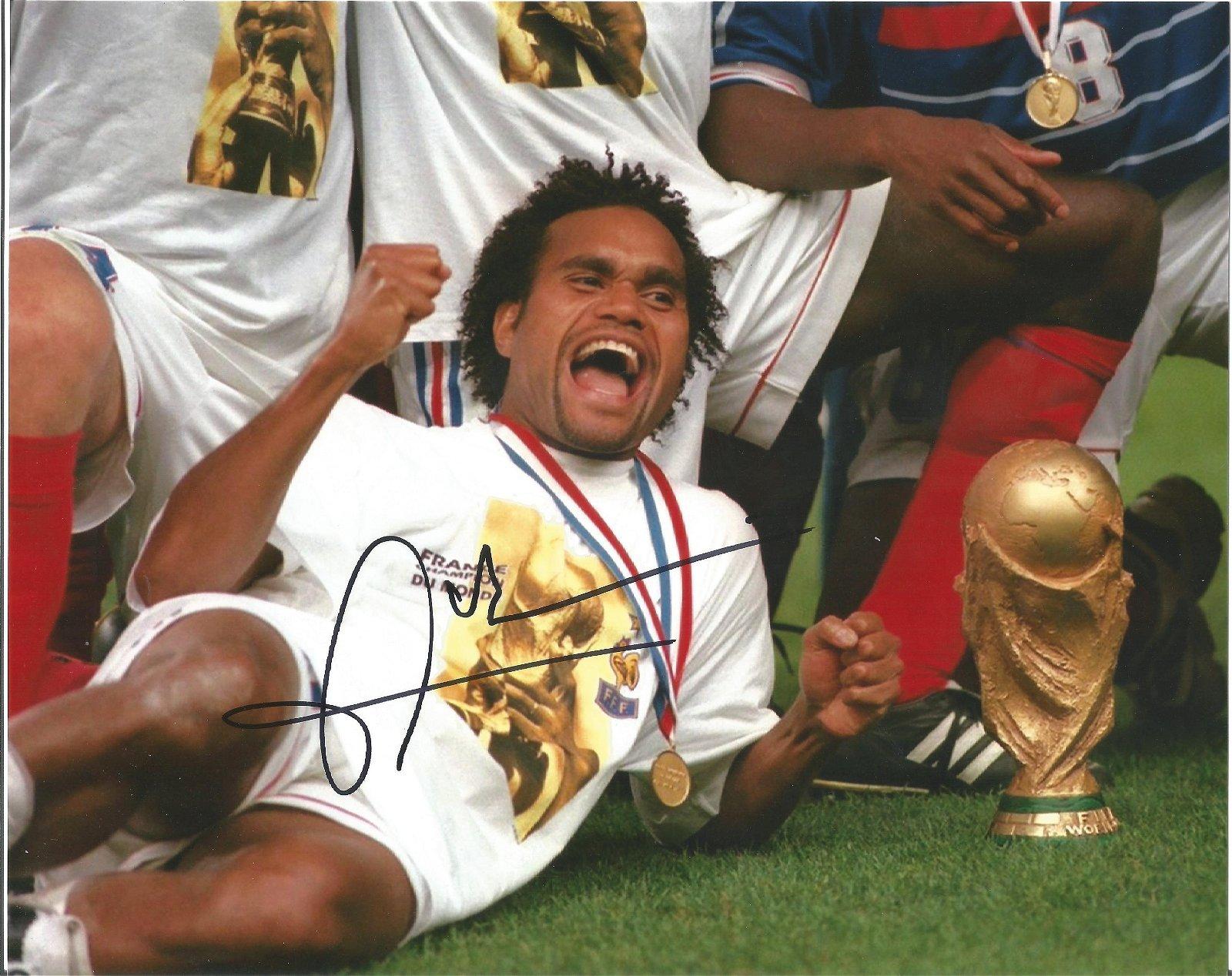 Christian Karembeu Signed France World Cup 8x10 Photo .
