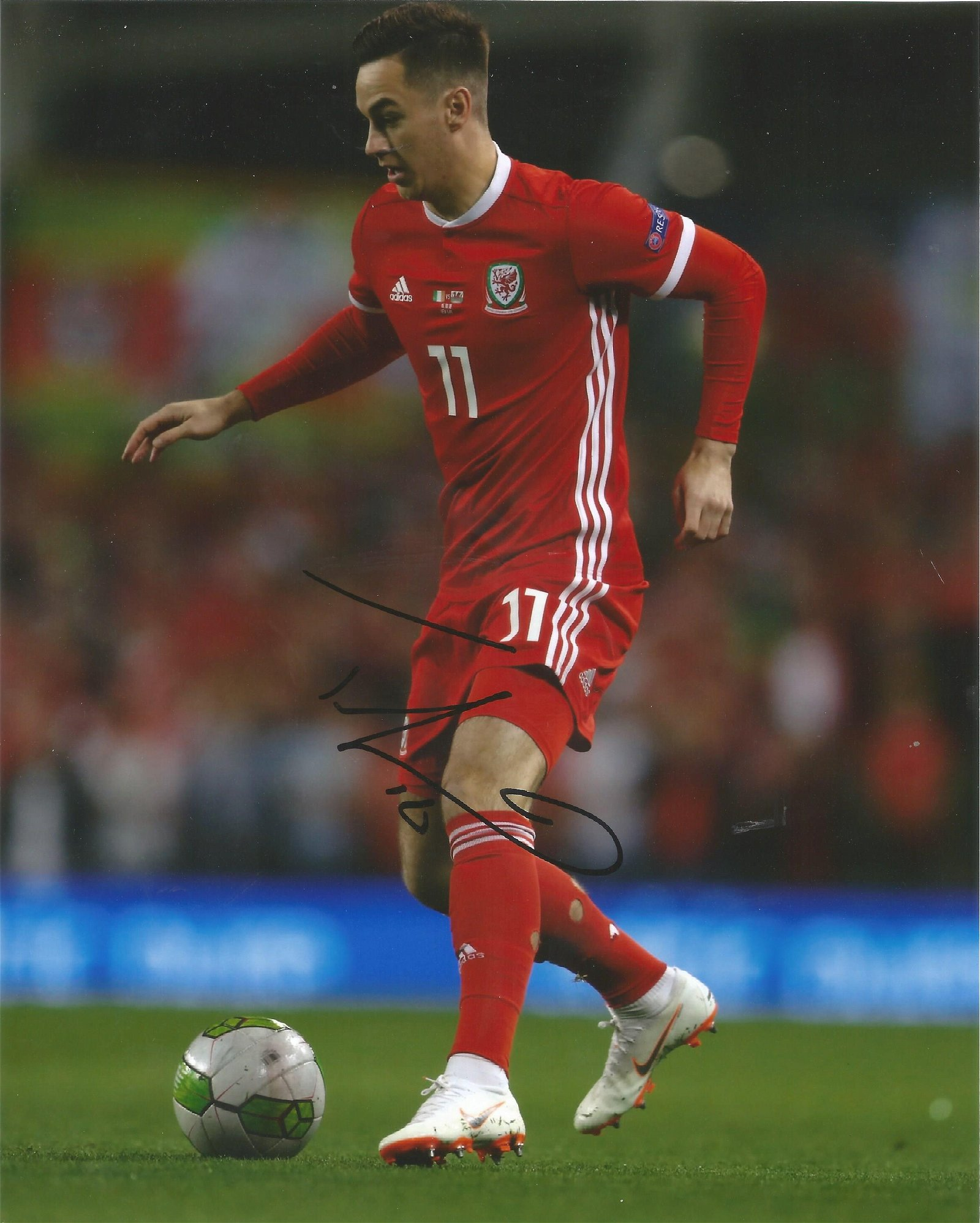 Tom Lawrence Signed Wales 8x10 Photo . Good Condition.