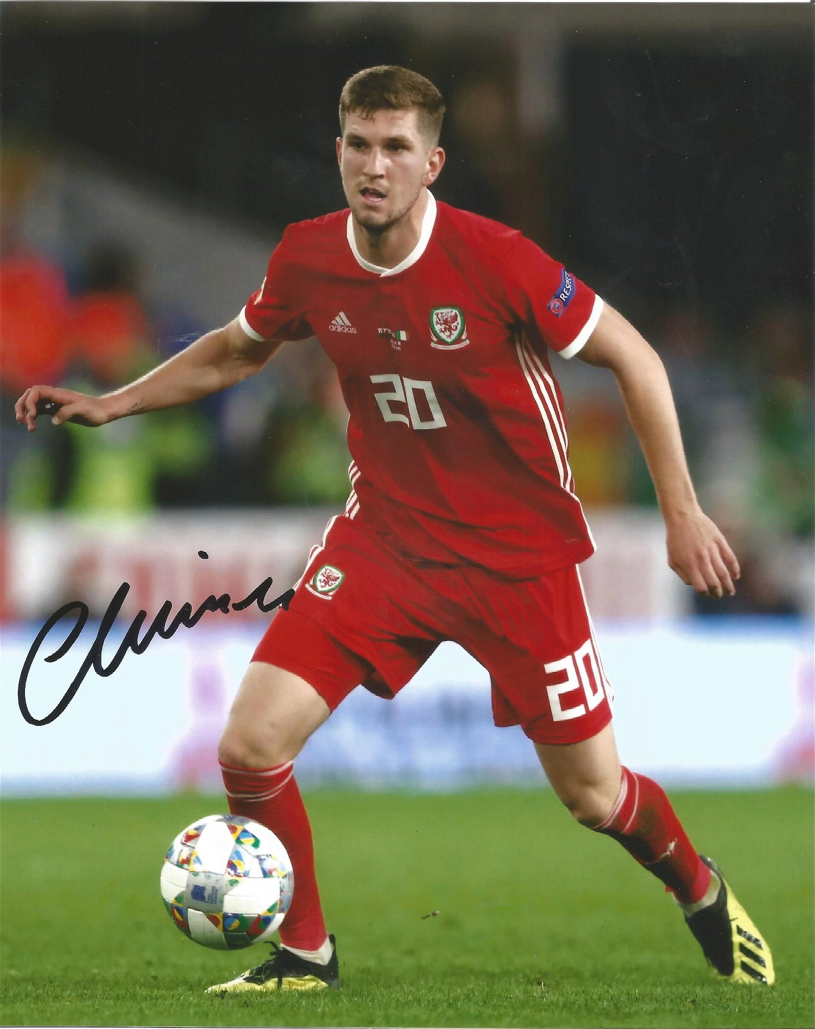 Chris Mepham Signed Wales 8x10 Photo . Good Condition.