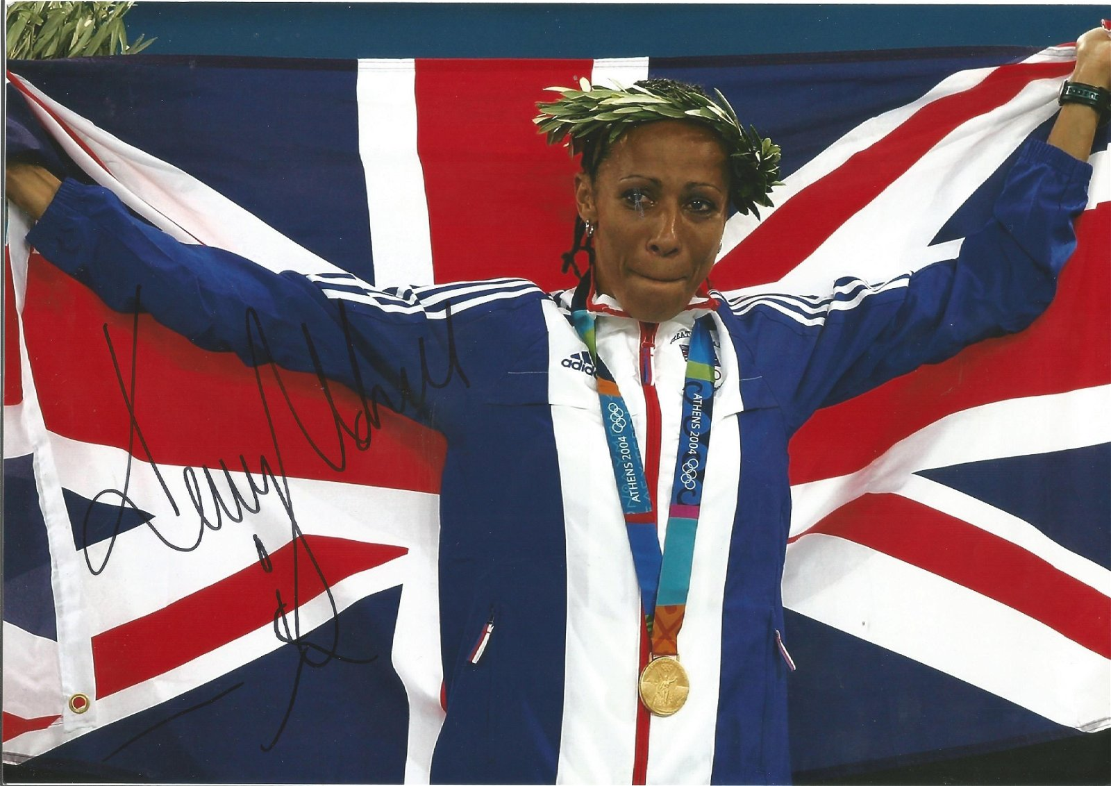 Kelly Holmes Signed 2004 Athens Olympic 8x12 Photo .