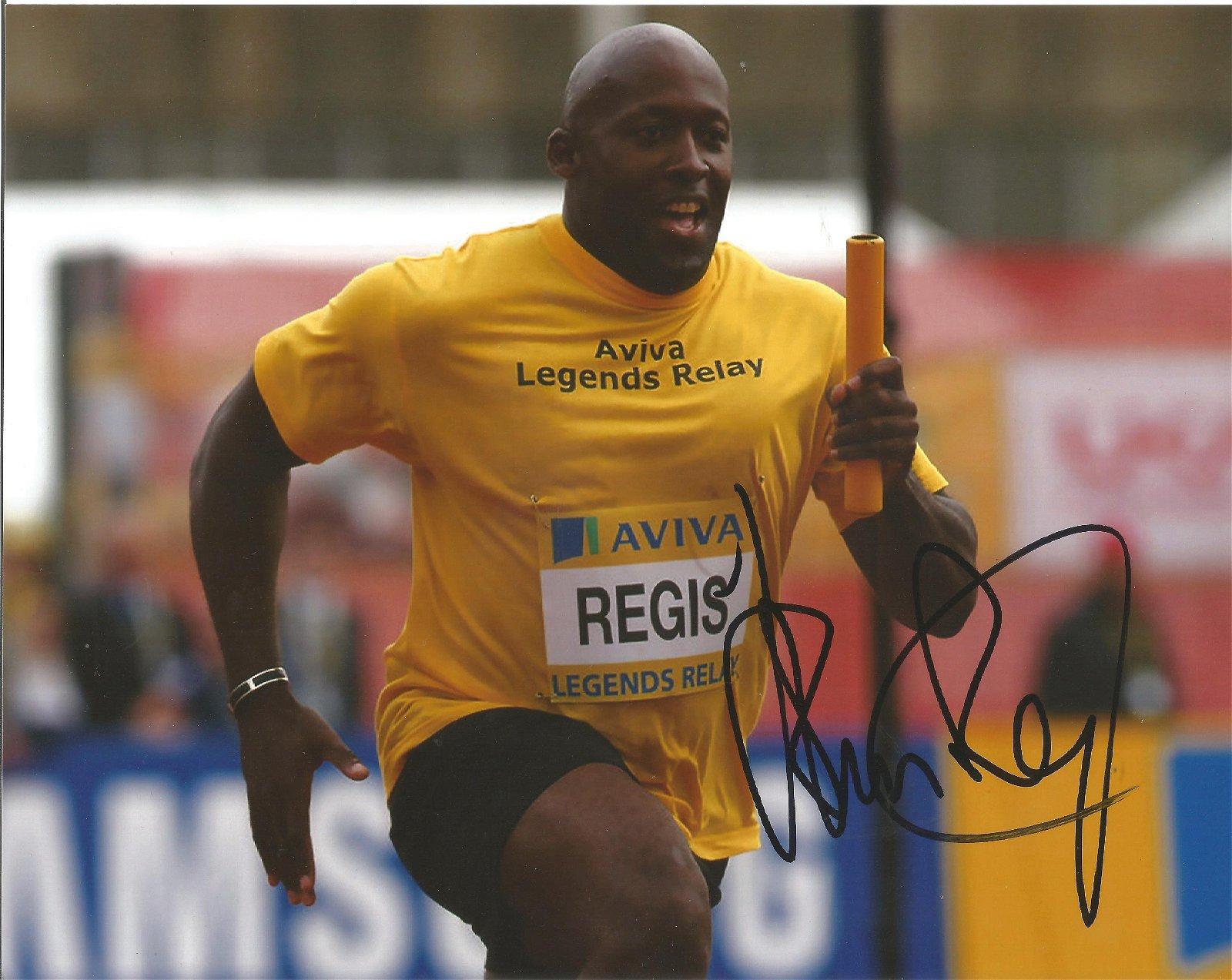 John Regis Signed Athletics 8x10 Photo . Good