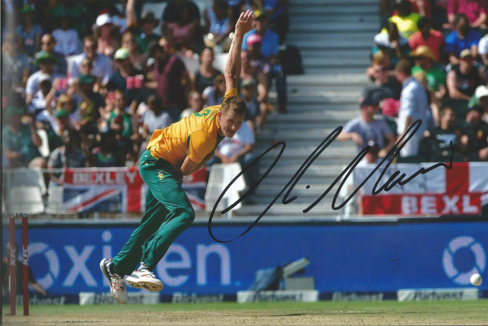 Chris Morris Signed South Africa Cricket 8x12 Photo .