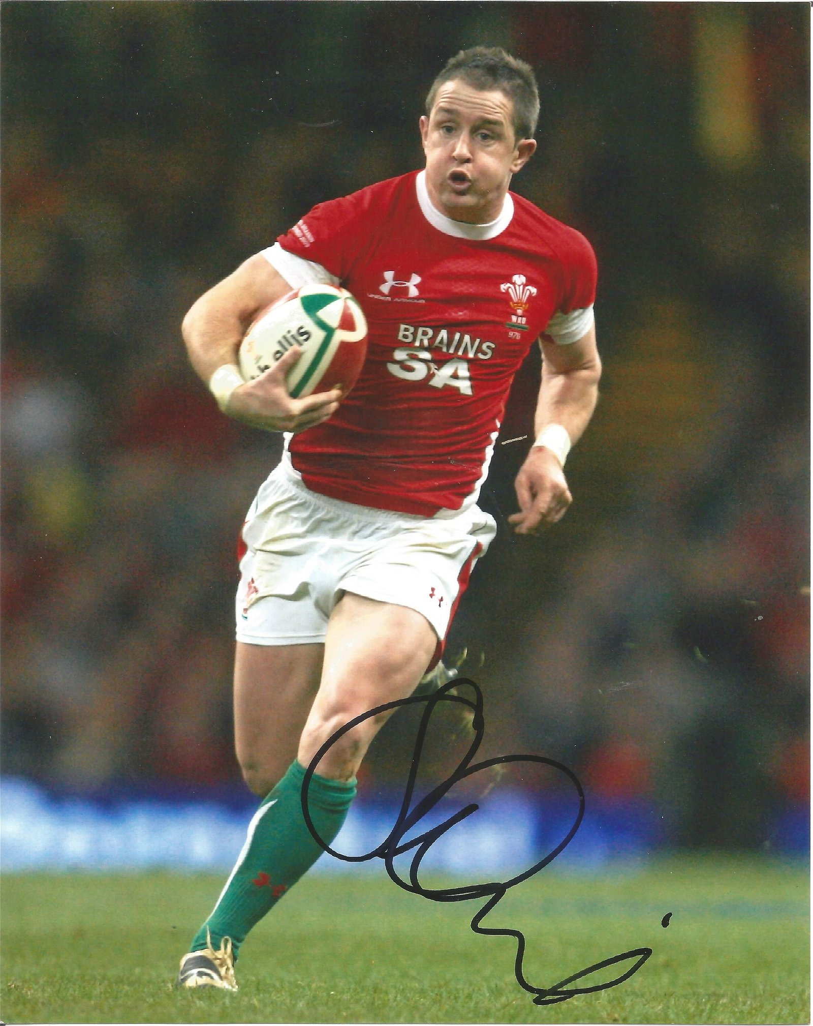 Shane Williams Signed Wales Rugby 8x10 Photo . Good