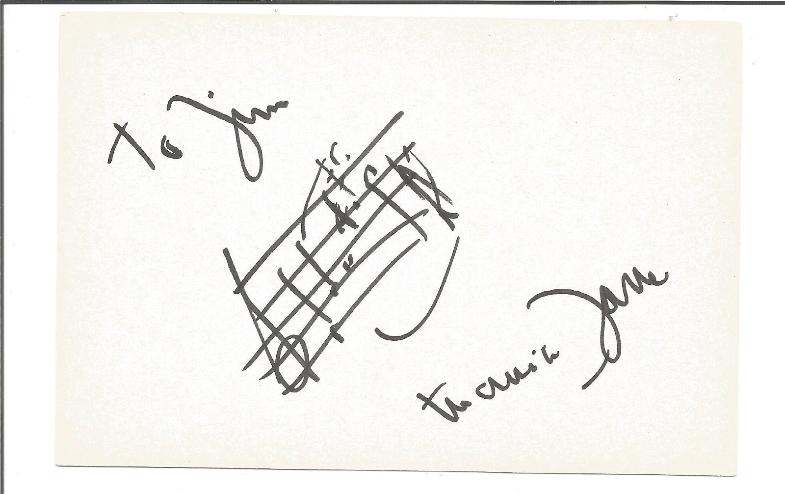 Maurice Jarre signed 6x4 white card with music score