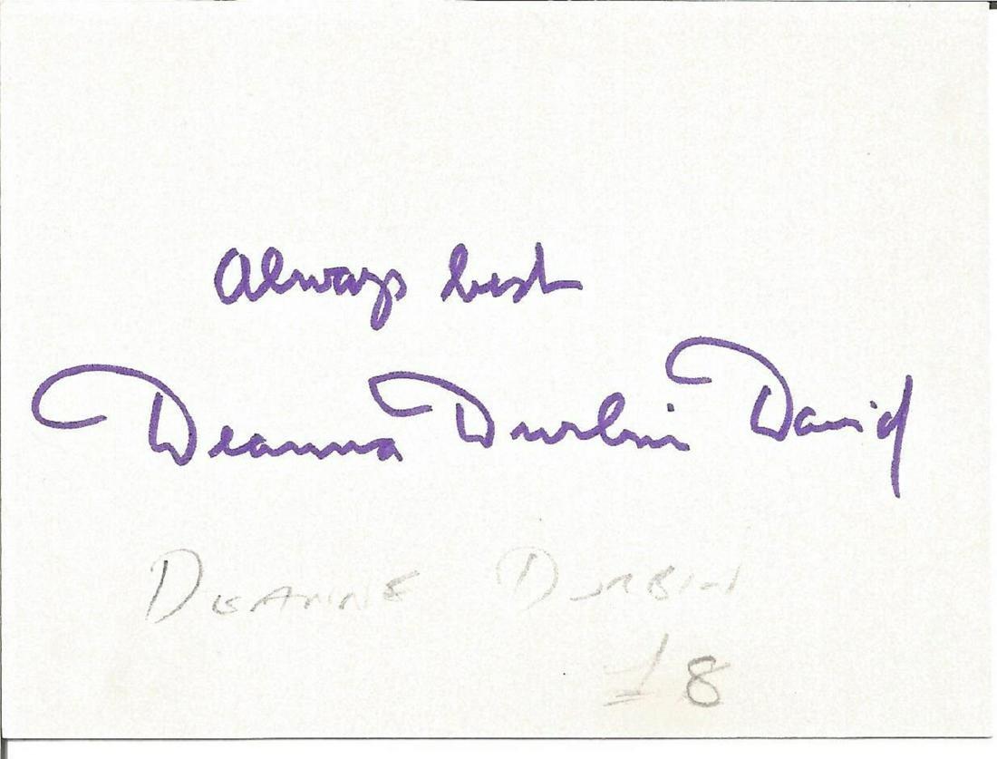 Deanna Durbin small signature piece. Good Condition.
