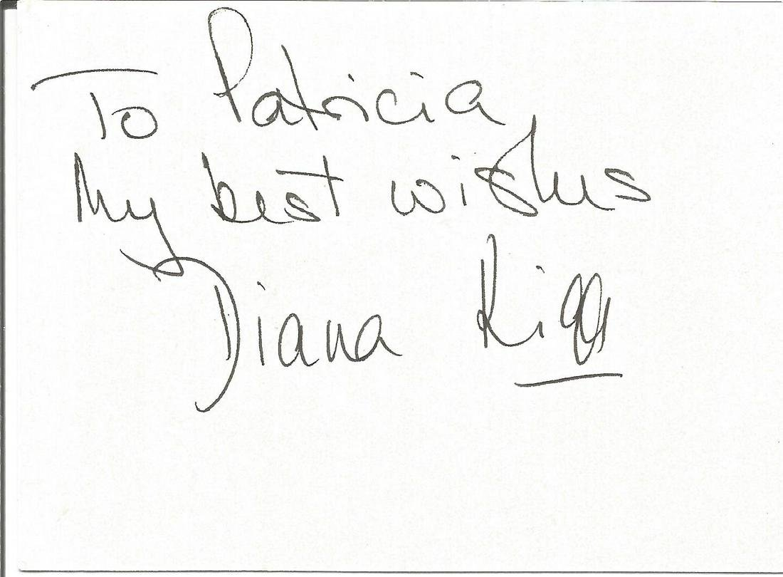 Diana Rigg signed small white card. Dedicated. Good