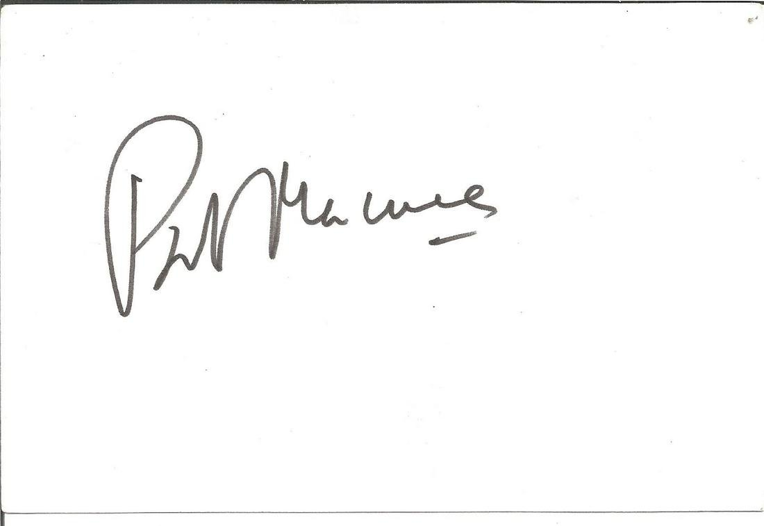 Patrick McNee signed 6x4 white card. Good Condition.