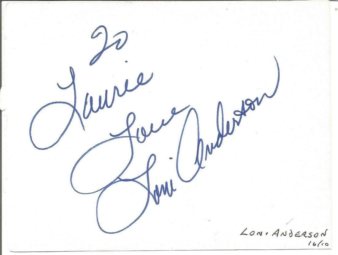 Loni Anderson signed 6x4 white card. Dedicated. Good