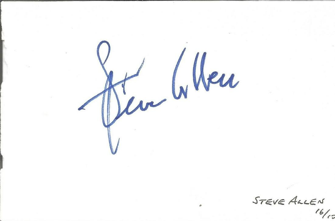 Steve Allen signed album page. Good Condition. All