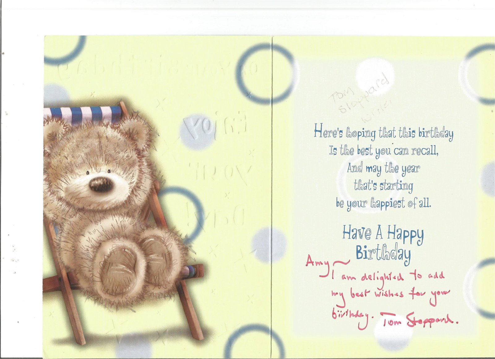 Tom Stoppard signed birthday card. Good Condition. All