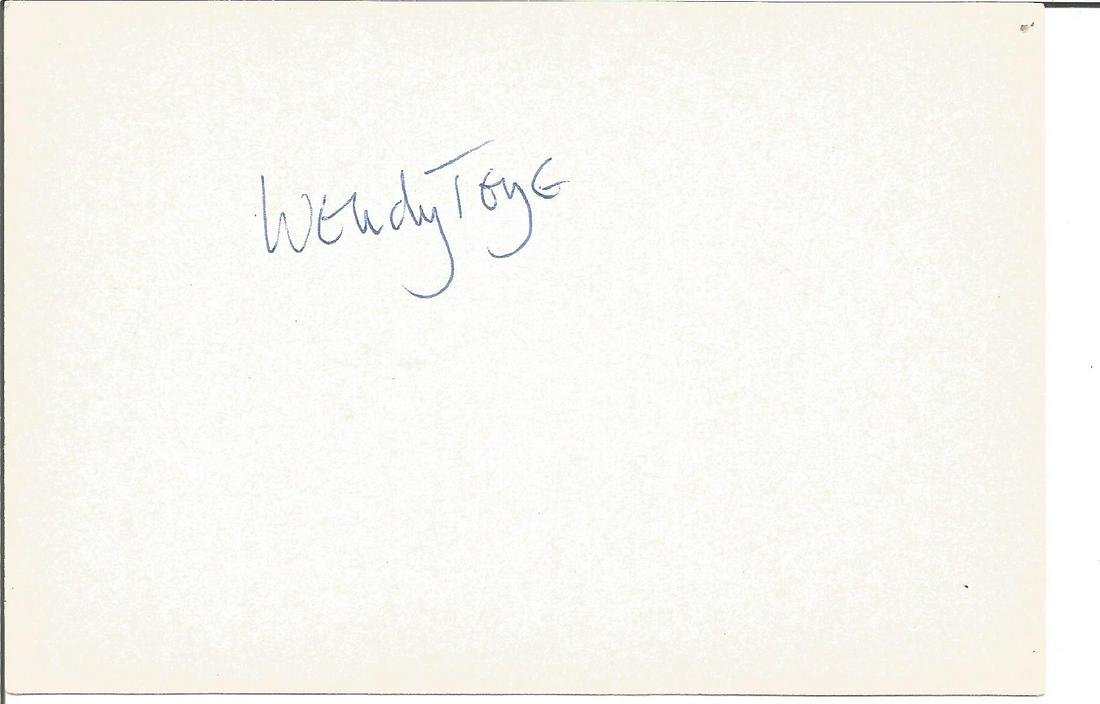Wendy Toye signed 6x4 white card. Good Condition. All
