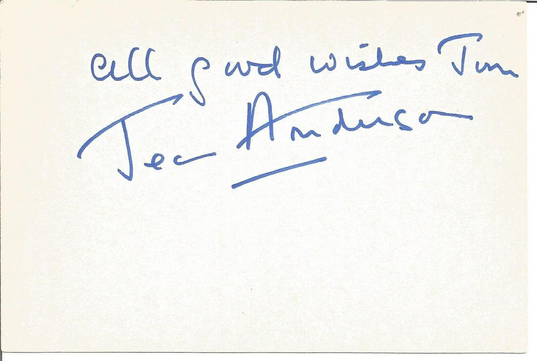Jean Anderson signed 6x4 white card. Dedicated. Good
