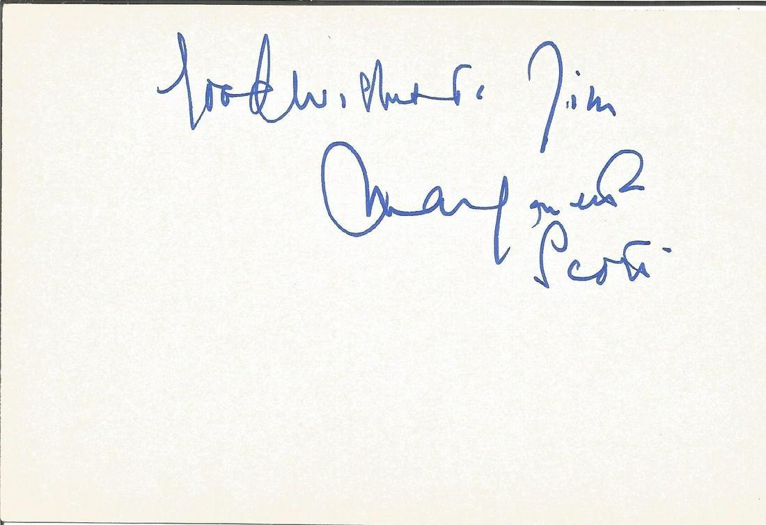 Margaretta Scott signed 6x4 white card. Dedicated. Good