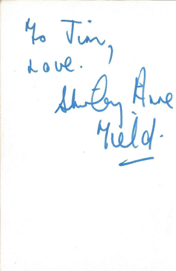 Shirley Anne Fields signed album page. Good Condition.