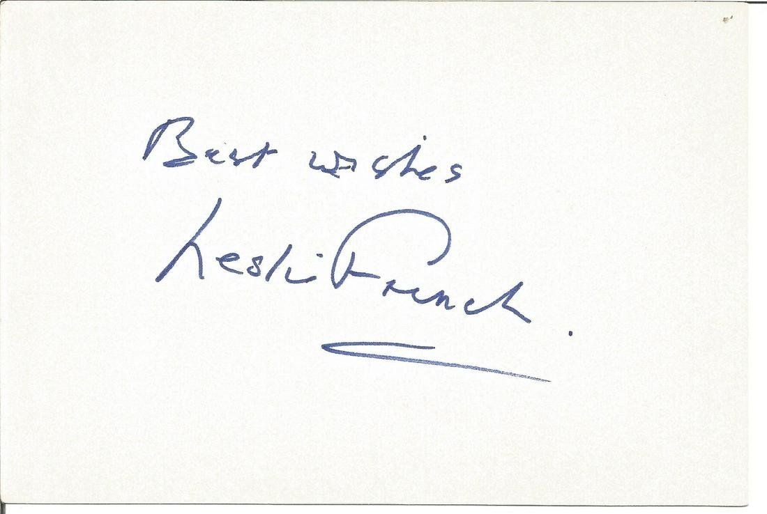 Leslie French signed 6x4 white card. Good Condition.